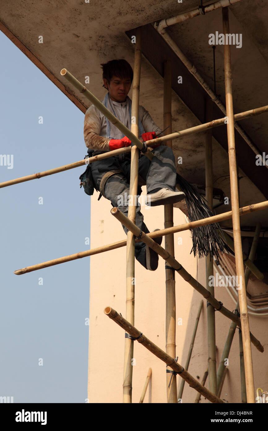 Scaffolding construction in Hong Kong, China - Stock Image