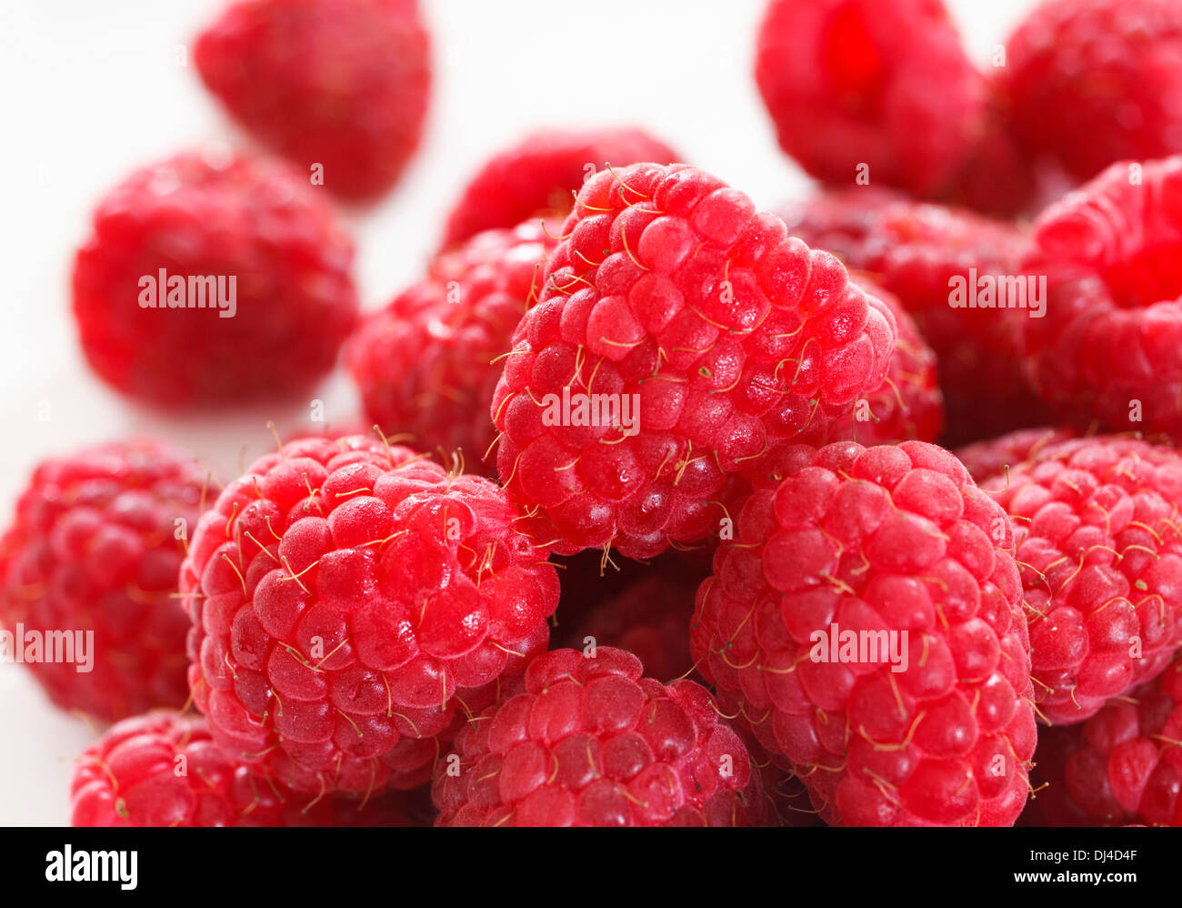 Pile of raspberries close up - Stock Image