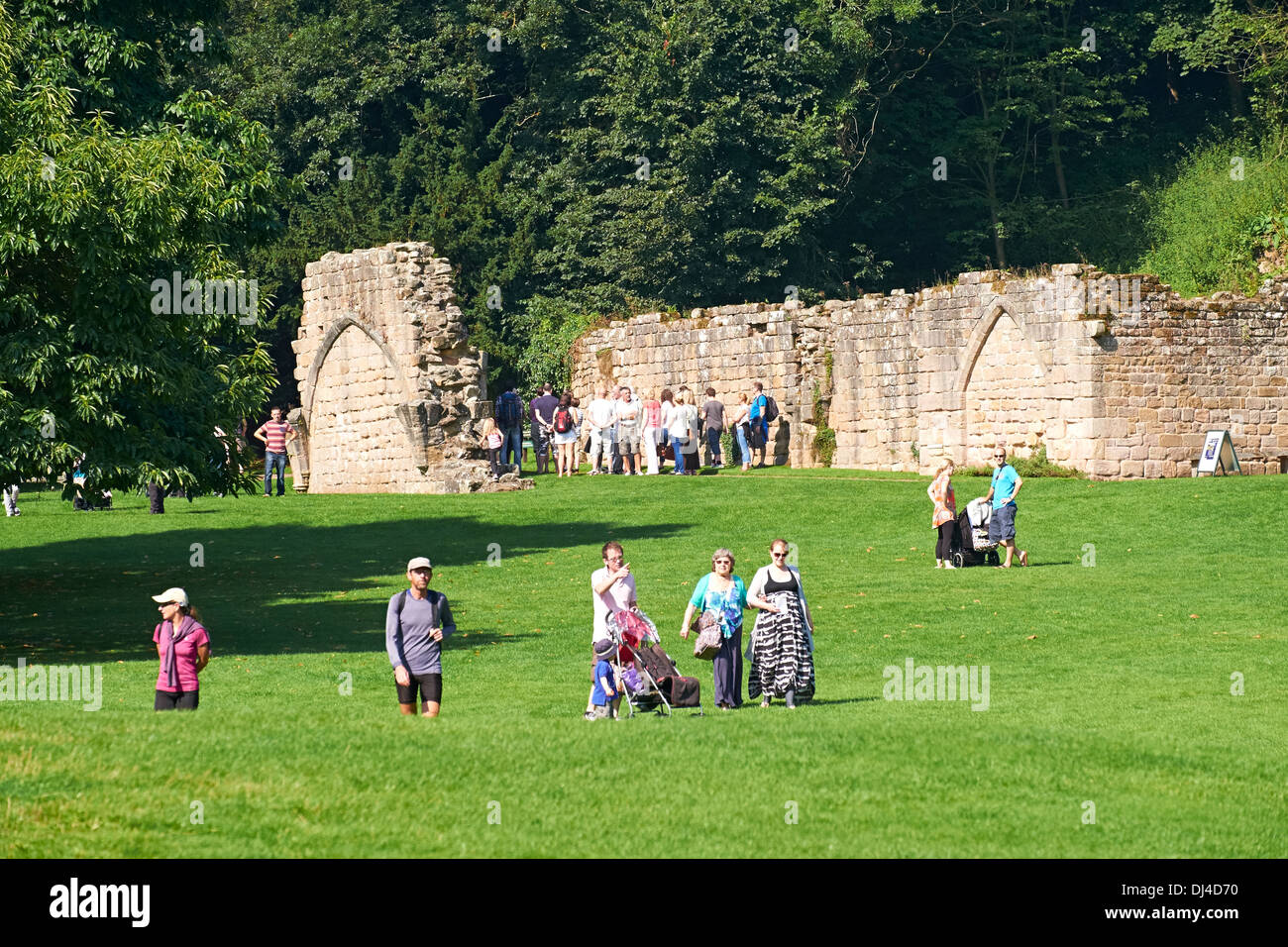 Exterior views of the Cistercian Monastery Fountains Abbey North Yorkshire England. Stock Photo