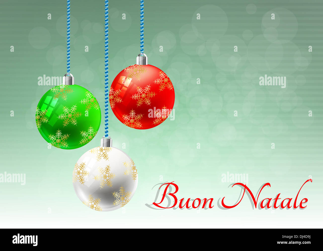 Merry Christmas In Italian.Illustration Of Christmas Balls With Merry Christmas In