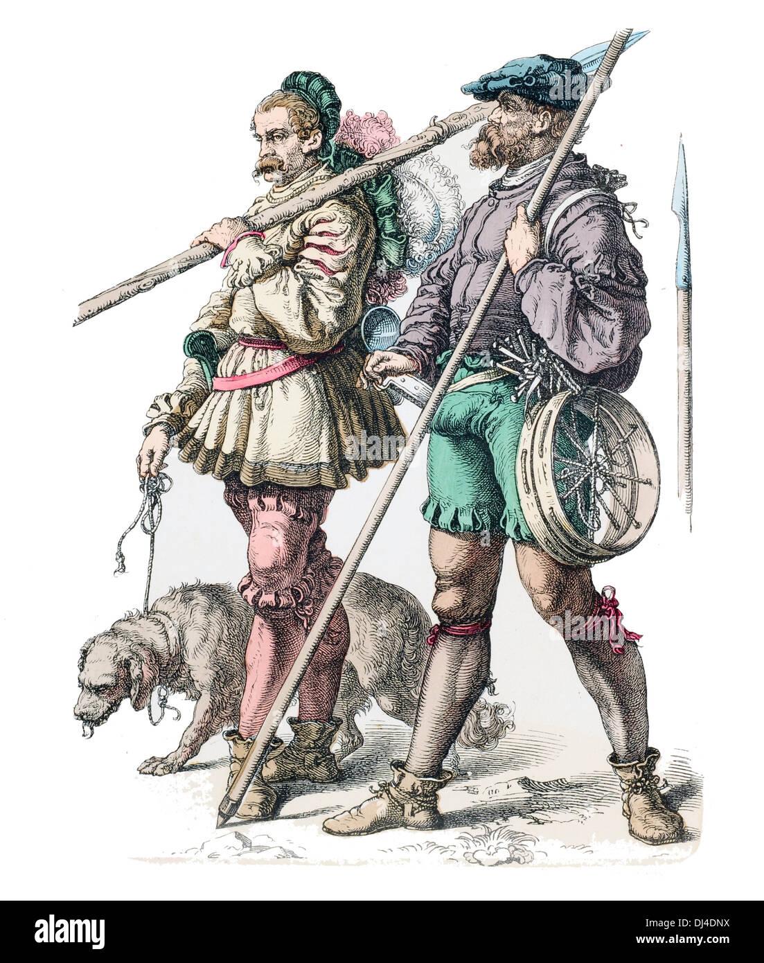 German 16th Century Mountaineers - Stock Image
