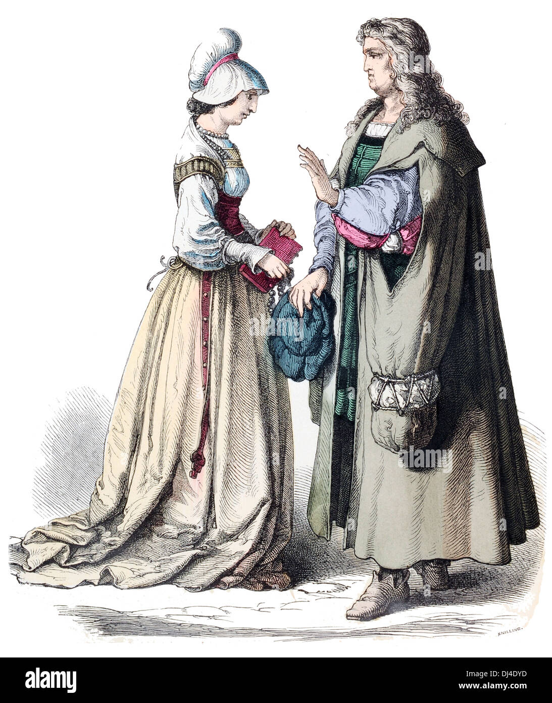 German 16th Century Scholar and townswoman - Stock Image
