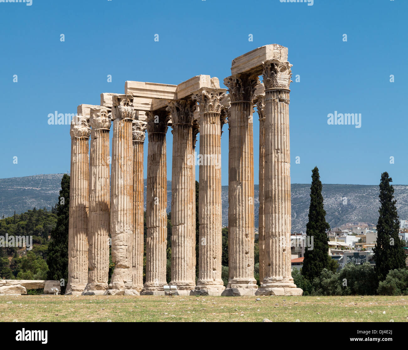 The Ancient Greece Temple of Olympian Zeus / Olympieion, Athens, Greece Stock Photo