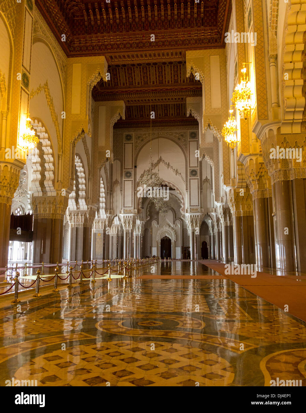 Interior of the Hassan II Mosque or Grande Mosquee Hassan II, Casablanca, Morocco - Stock Image
