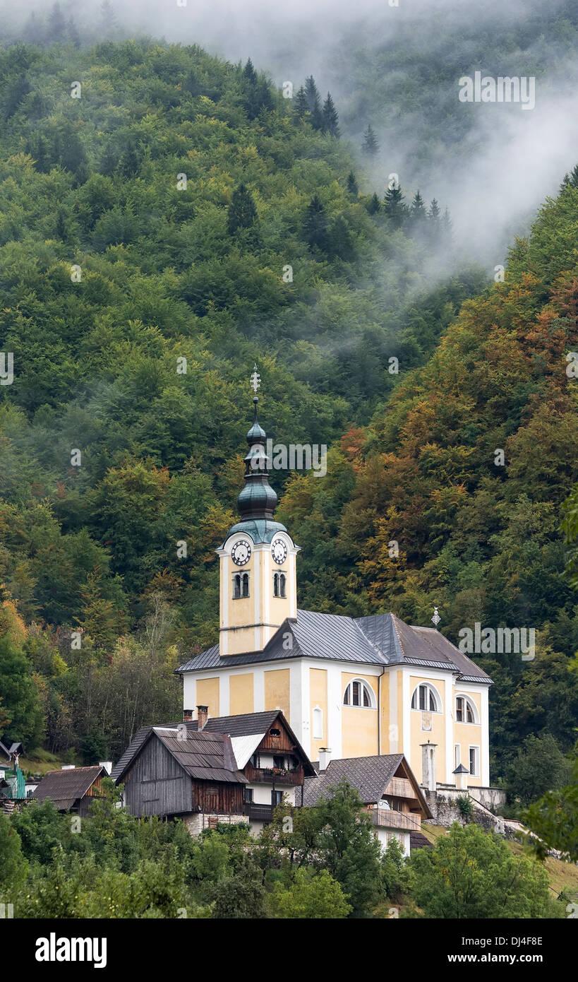 Church in Srednja vas v Bohinju, Slovenia Stock Photo