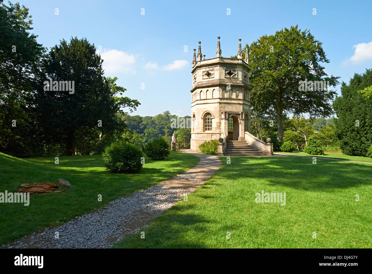 A folly on the grounds of the Cistercian Monastery Fountains Abbey North Yorkshire England. - Stock Image