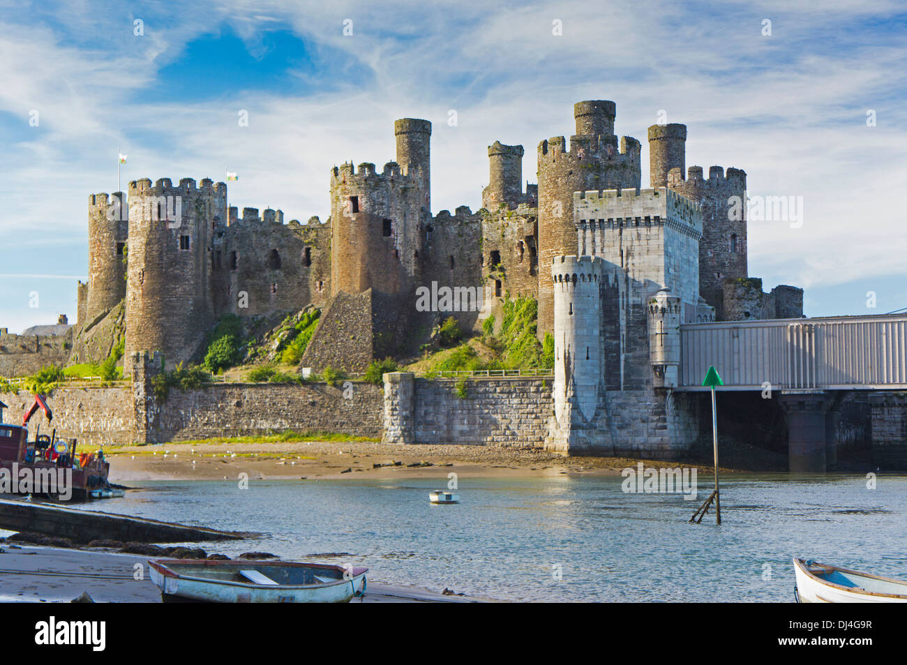 Conway Castle and Bridge North Wales Uk. - Stock Image