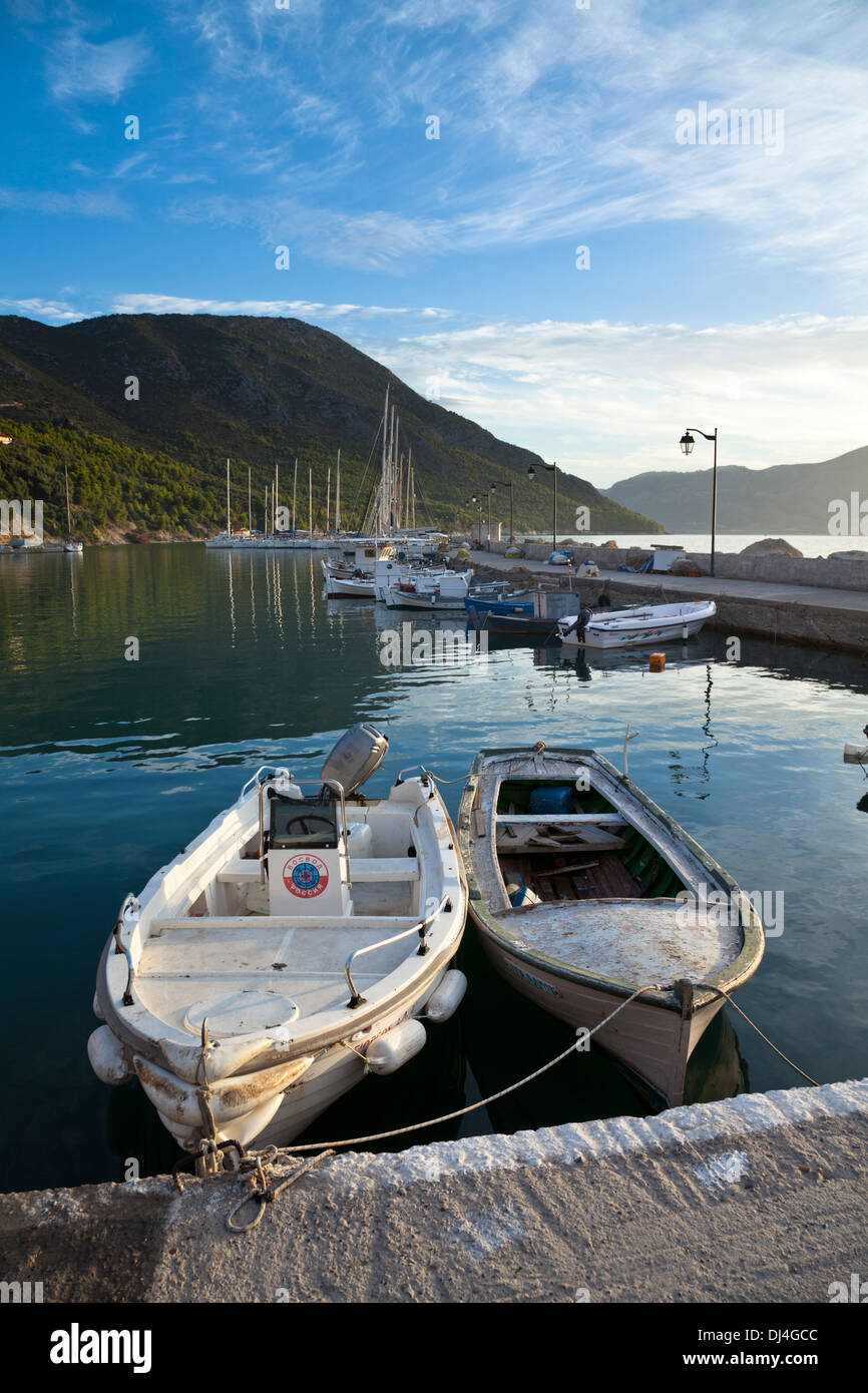 Local boats and yachts in the harbour at Kalamos in the Ionian Sea - Stock Image