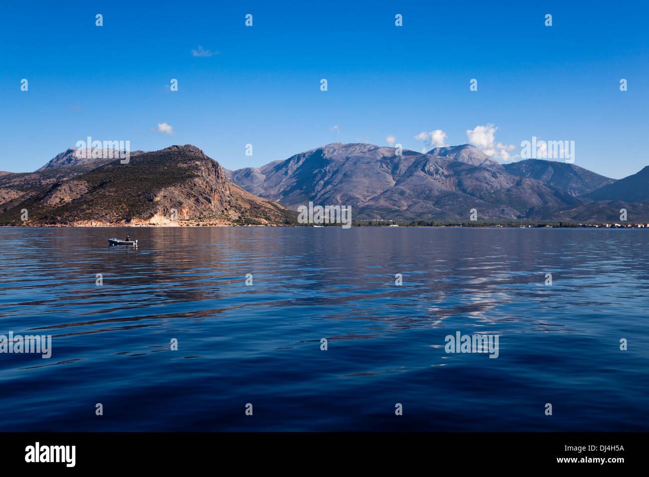 Fishing off the Greek Coast near to Mitikas in the Ionian Sea - Stock Image