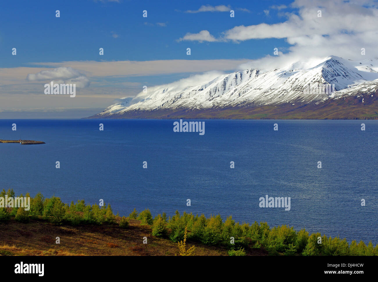 snowcovered mountains in northern iceland - Stock Image