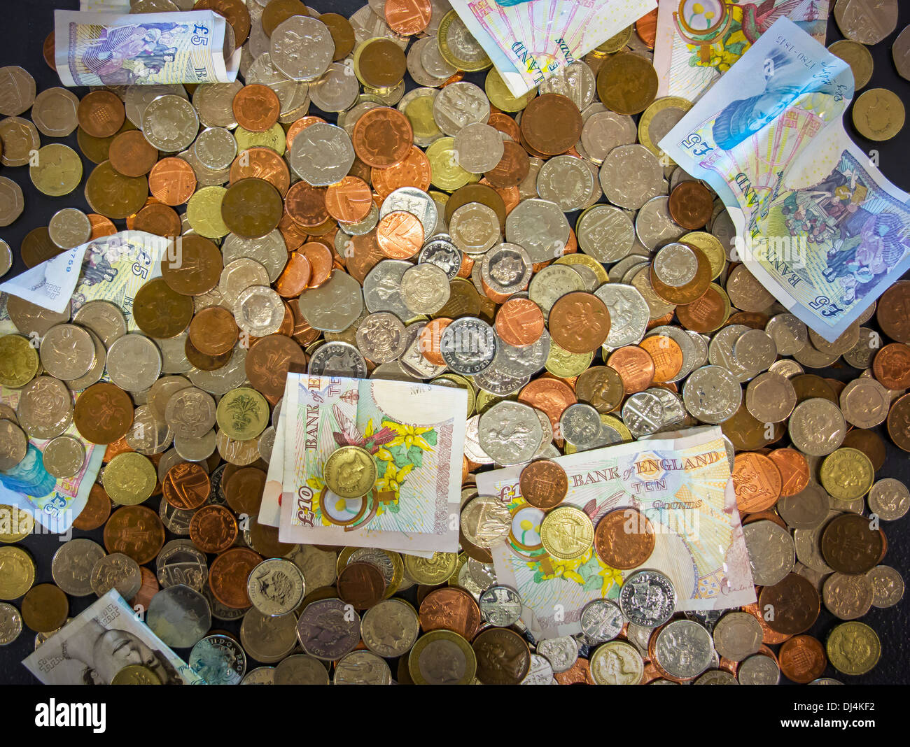 Money Stirling Coins Banknotes Donations Collections - Stock Image