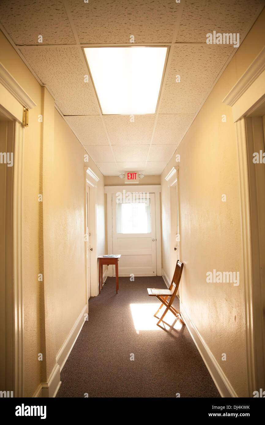Office hallway Blue Bright Light At The End Of Hallway In Small Old Office Building In Northampton Ma Alamy Bright Light At The End Of Hallway In Small Old Office Building