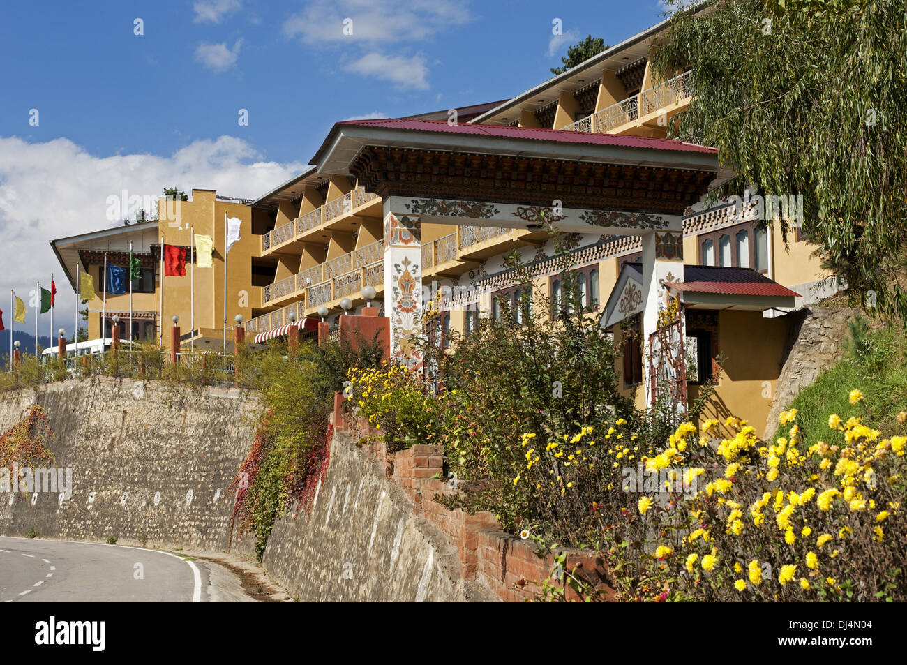 gate to the Riverview Hotel, Thimphu, Bhutan - Stock Image