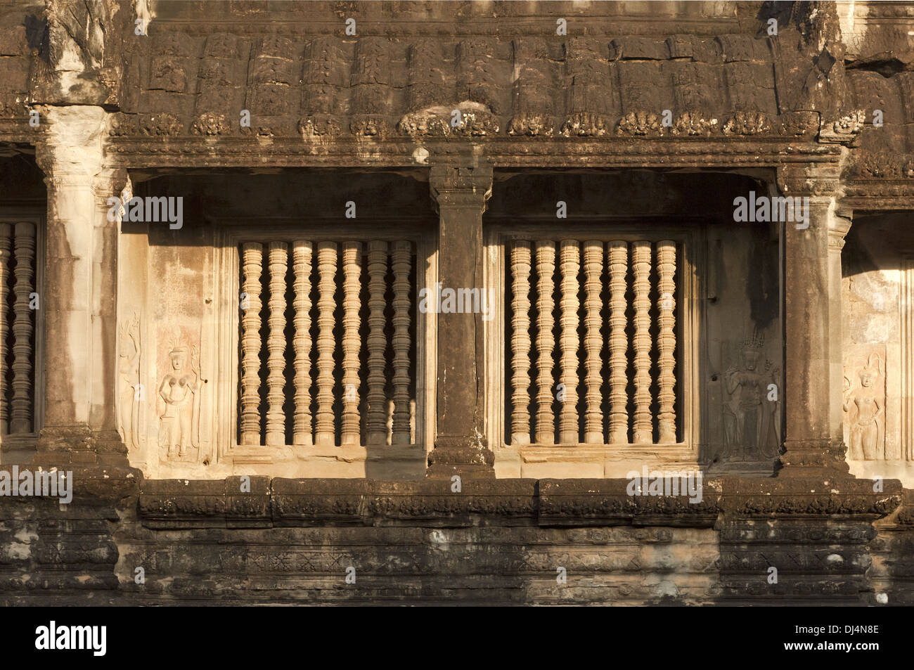 windows with balusters in stone, Angkor Wat Stock Photo