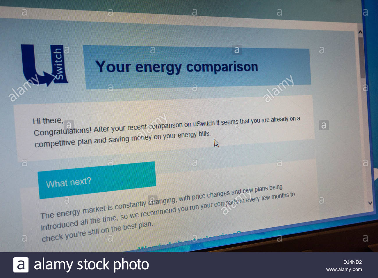 A uSwitch energy comparison shows that the consumer is already on a competitive plan and no additional savings can be made - Stock Image