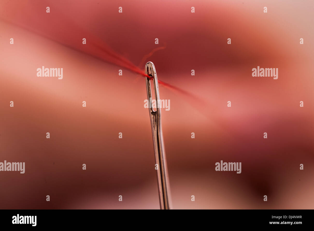 A needle on a red thread with a background in mixed redish blured colors. - Stock Image