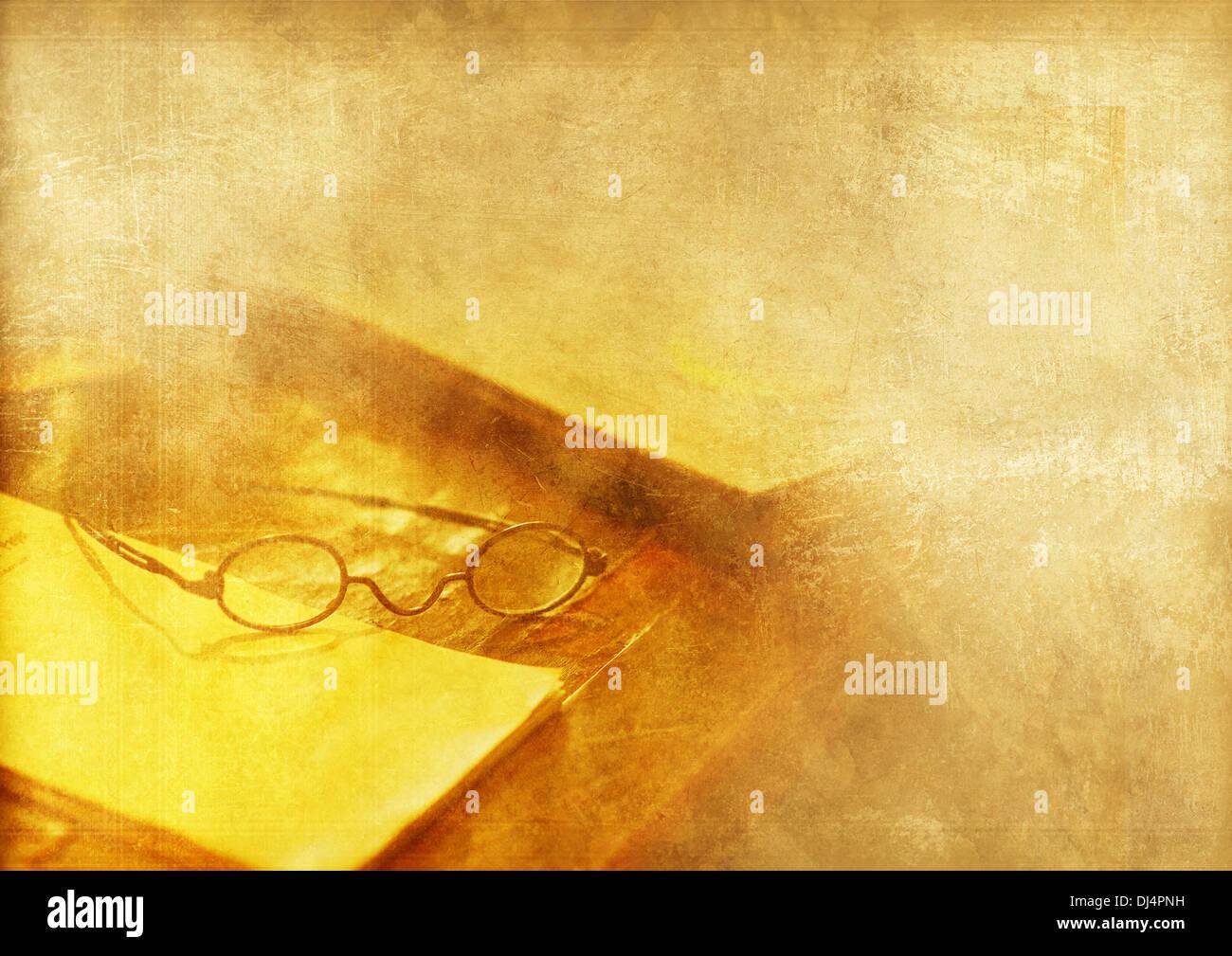 Vintage Journalist Backdrop. Cool Vintage Aged Background with Old Desk and Journalist Glasses. Cool Background for Blog, Magazi - Stock Image