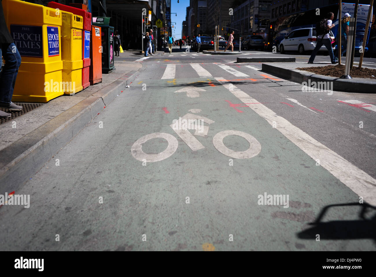 New York bike lane - Stock Image