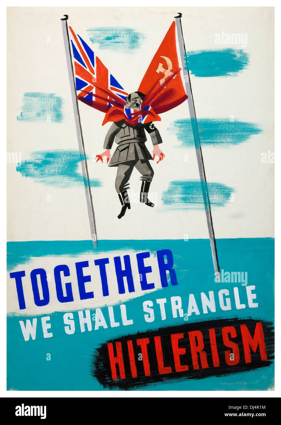 1940's WW2 humerous propaganda poster featuring Hitler being strangled by British and Russian flags - Stock Image