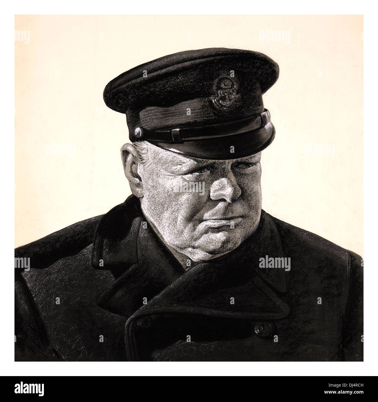 WW2  propaganda painting of presiding prime minister Winston Churchill in naval uniform, one of Great Britain's finest leaders - Stock Image