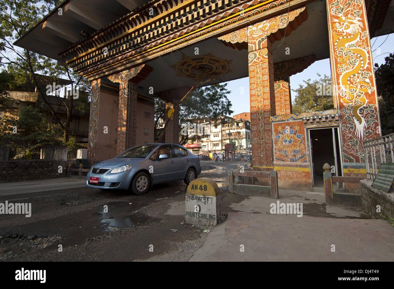 At the Gate of Bhutan, Phuentsholing, Bhutan - Stock Image