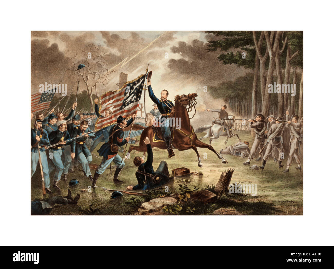 American Civil War 1861-1865 Oil on canvas General Kearney battle of Chantilly 1862 where confederate army won the day - Stock Image