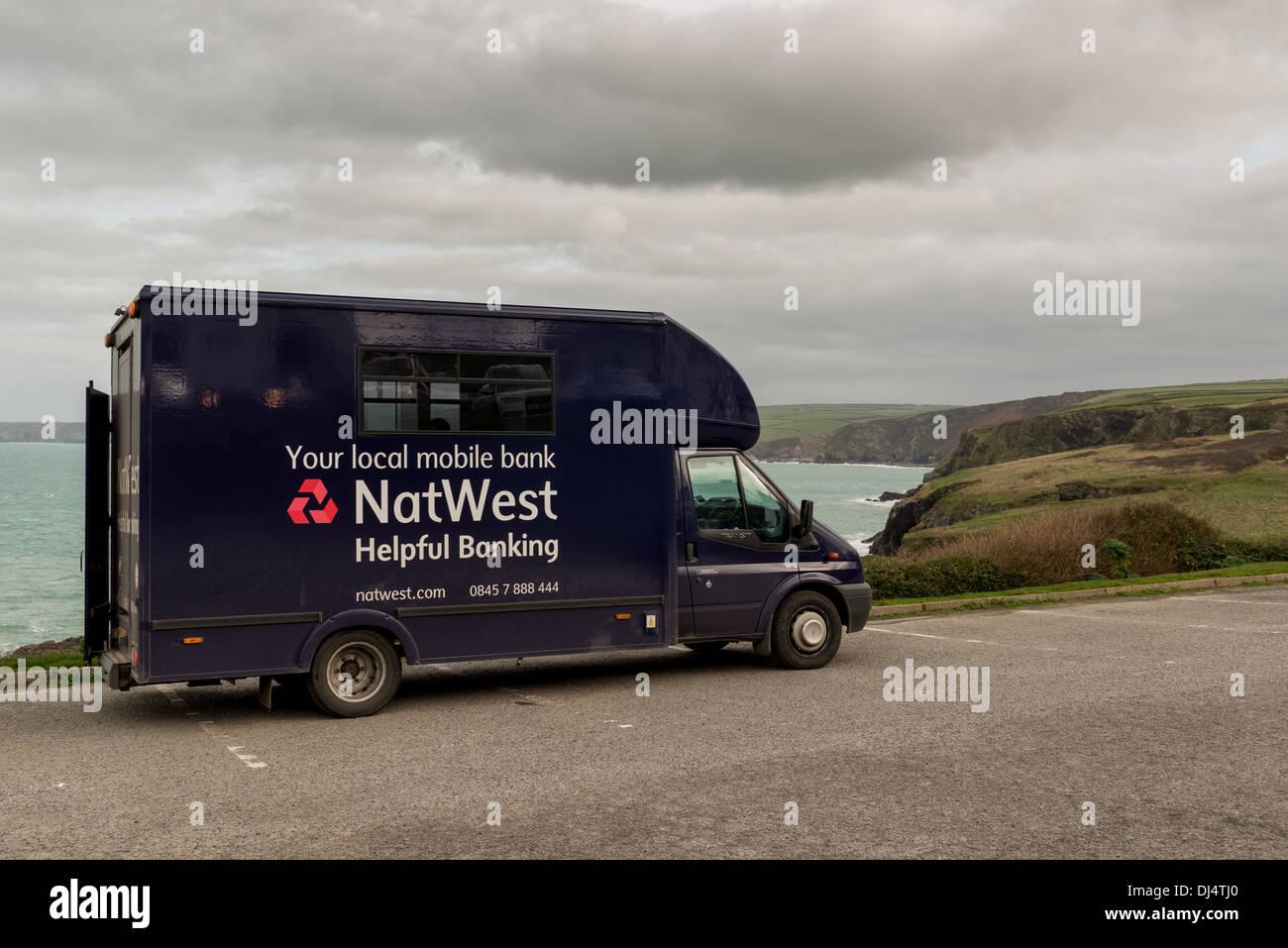 Mobile banking van in Cornwall - Stock Image
