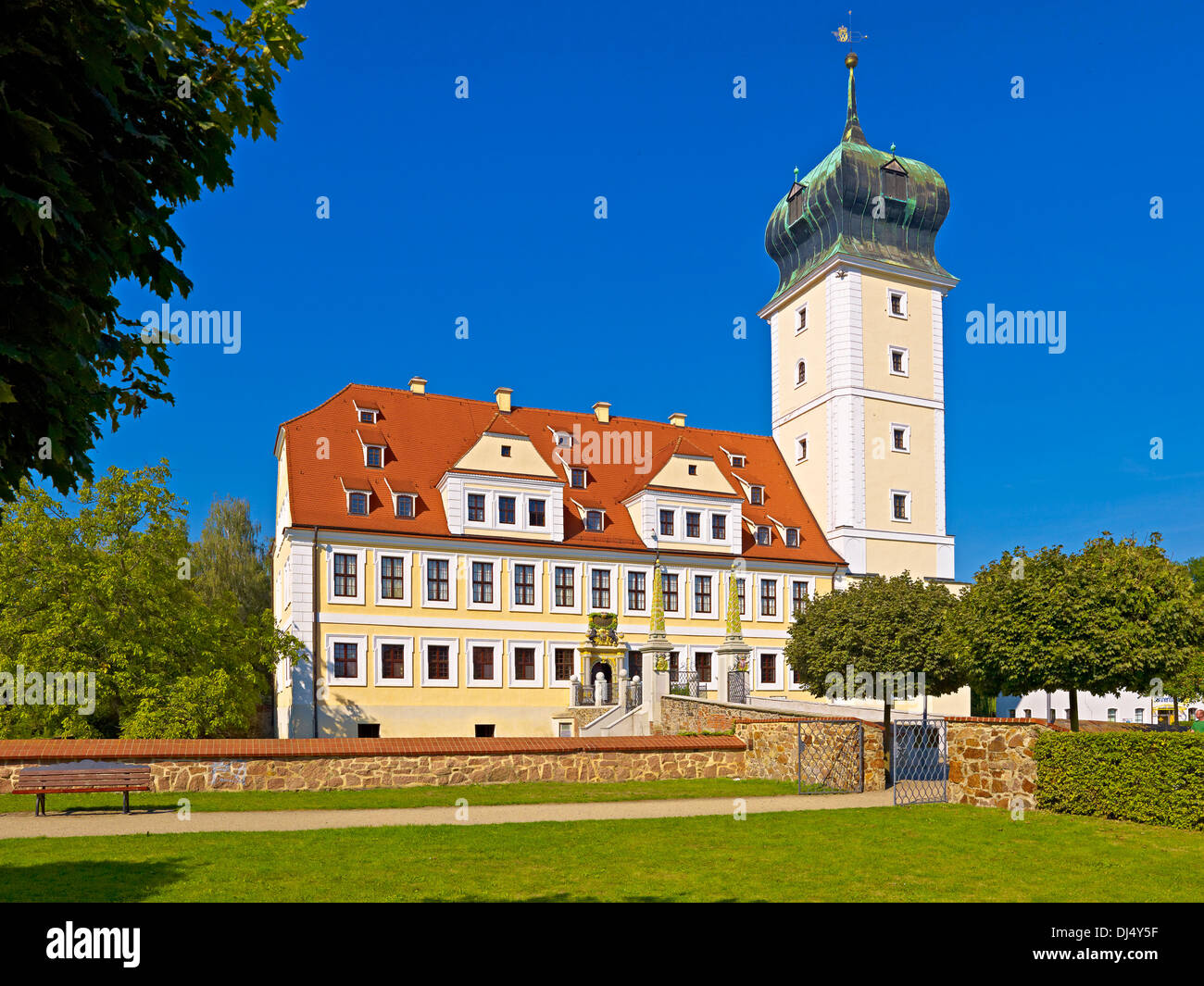 Delitzsch Castle With Baroque Garden Saxony Germany Stock Photo