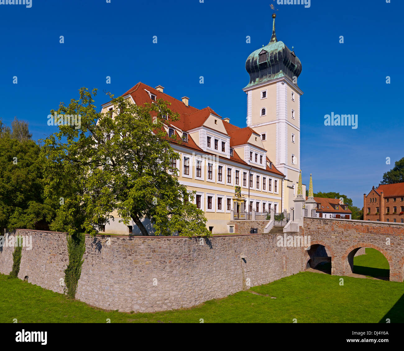Delitzsch Castle With Former Moat Saxony Germany Stock Photo