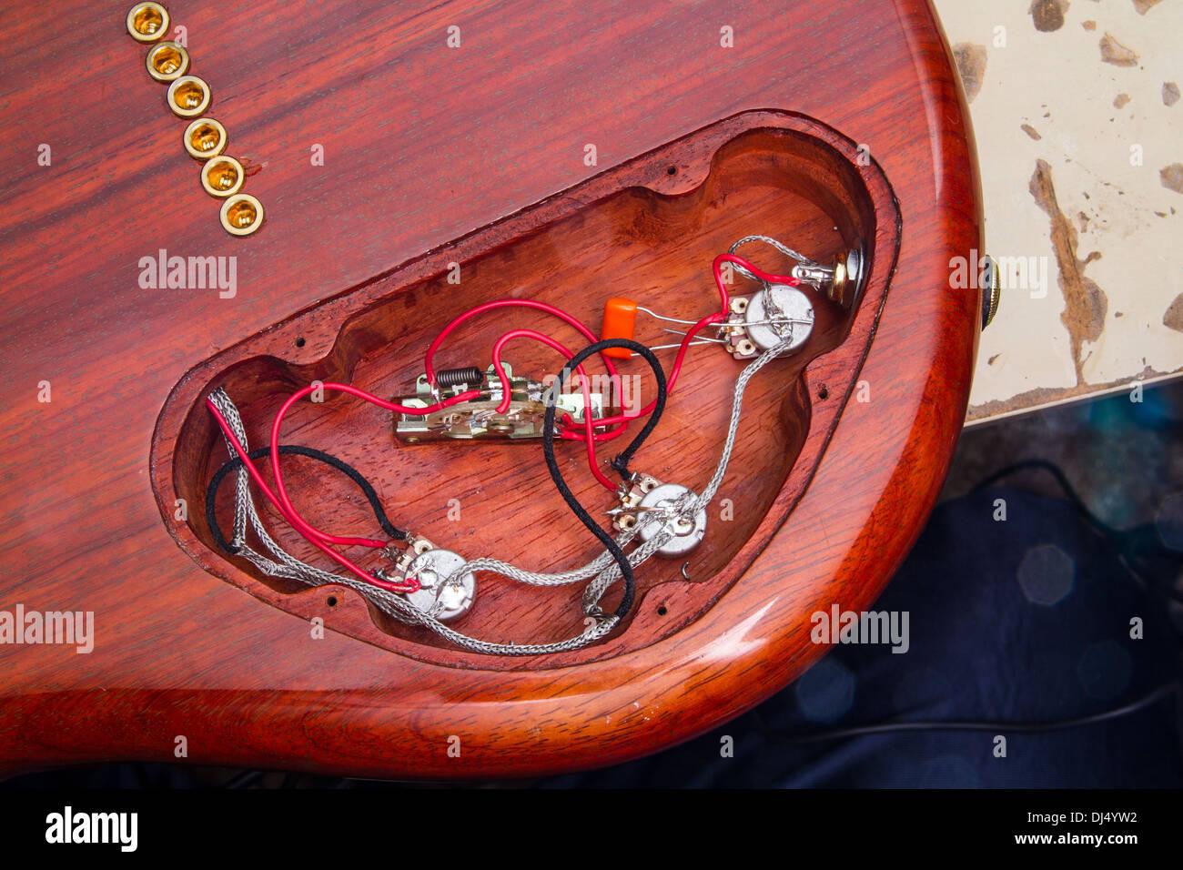 Electric Guitar Wiring Stock Photos A Custom Made From Padouk Image