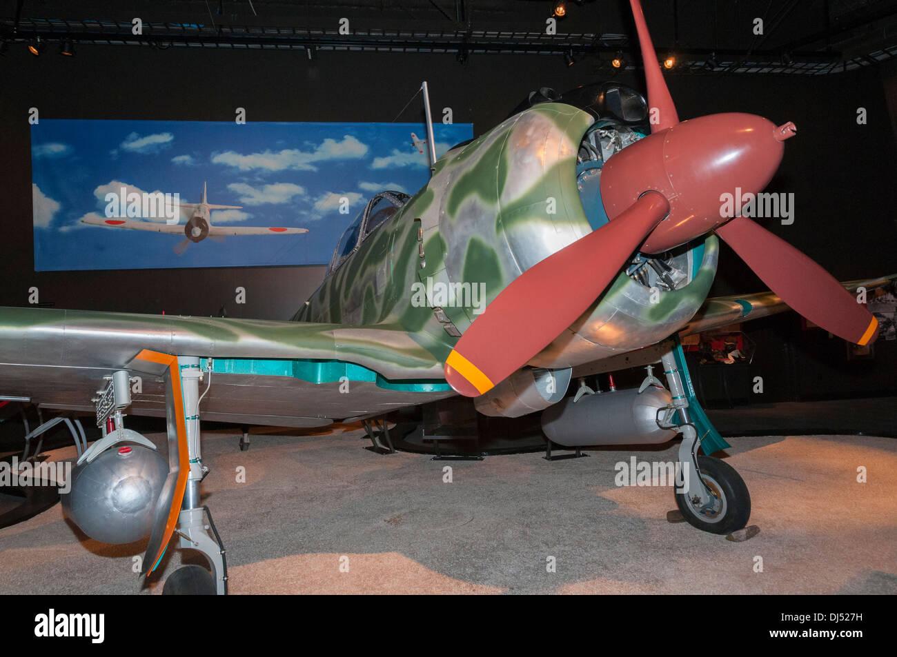 Washington, Seattle, The Museum of Flight, Nakajima Ki-43-IIIa Hayabusa reproduction, WWII Japanese fighter Stock Photo