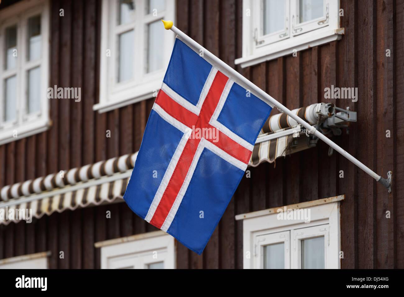 Icelandic Flag On A House; Stykisholmur, Snaefellsnes, Iceland - Stock Image