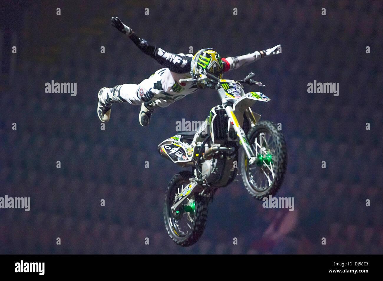 Oslo, Norway. 21st November 2013. Blake Bilko Williams does a super man freestyle motocross trick during the Nitro - Stock Image