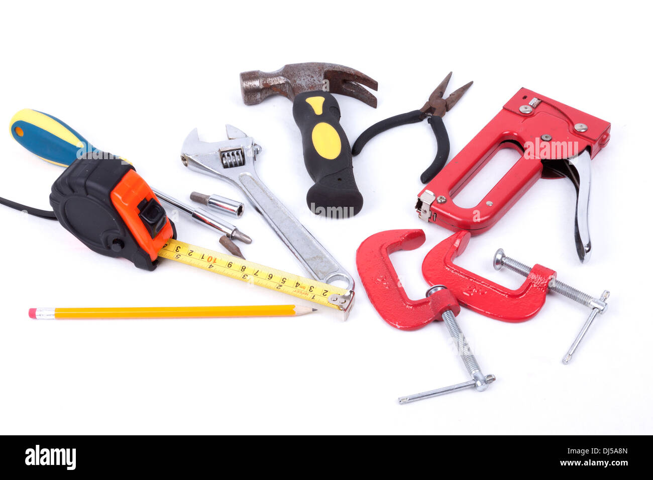 Set of tools isolated on a white background - Stock Image