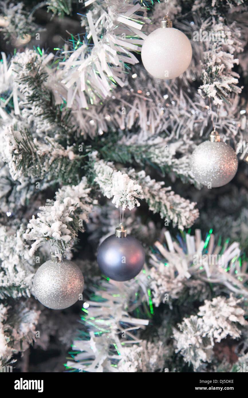 fake snow xmas tree tinsel stock image