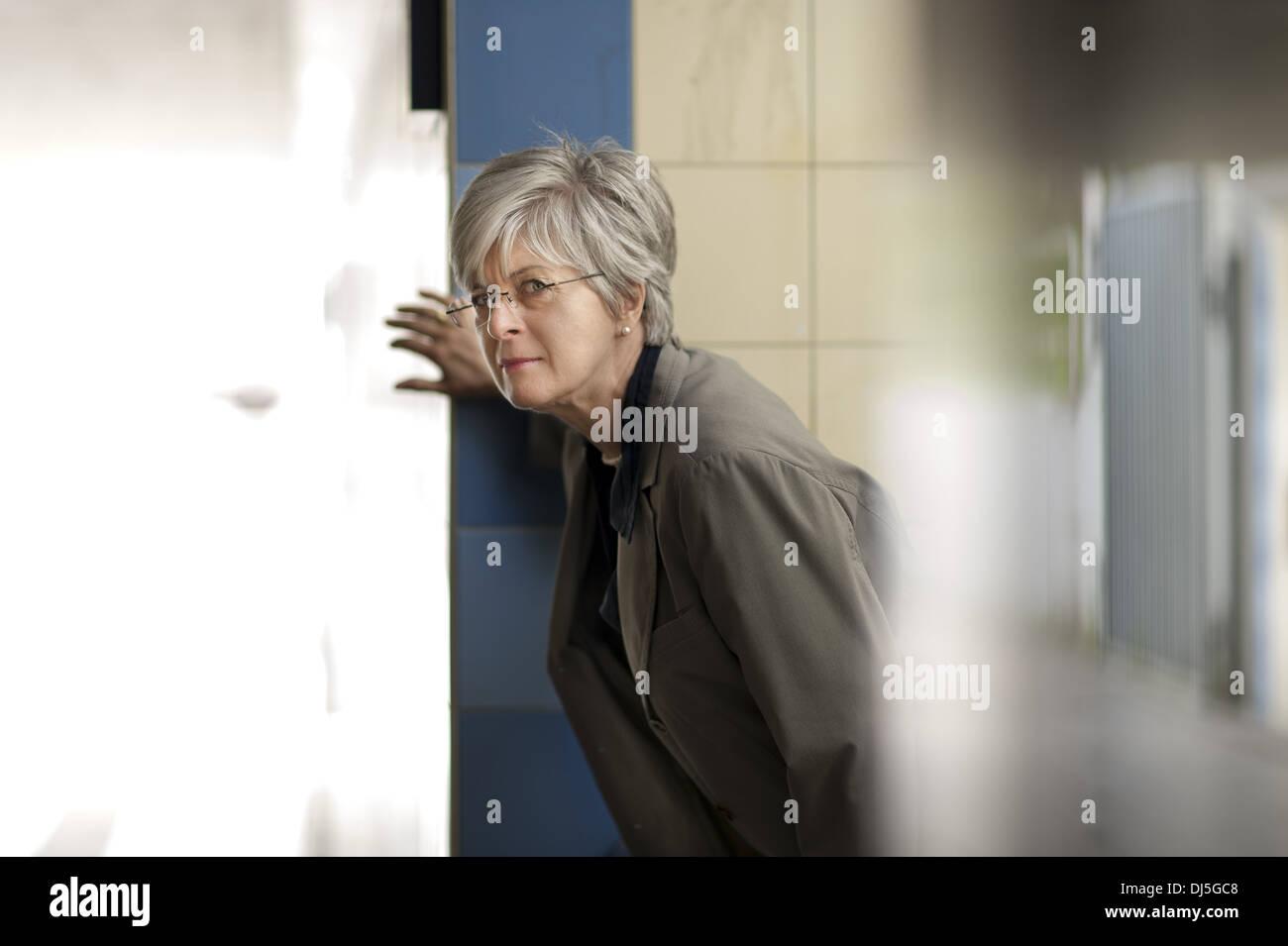 cautious view - Stock Image