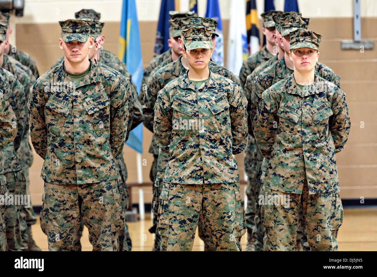 Pfc. Cristina Fuentes Montenegro, left, and Pfc. Julia Carroll, two of the first three female Marine graduates from Stock Photo