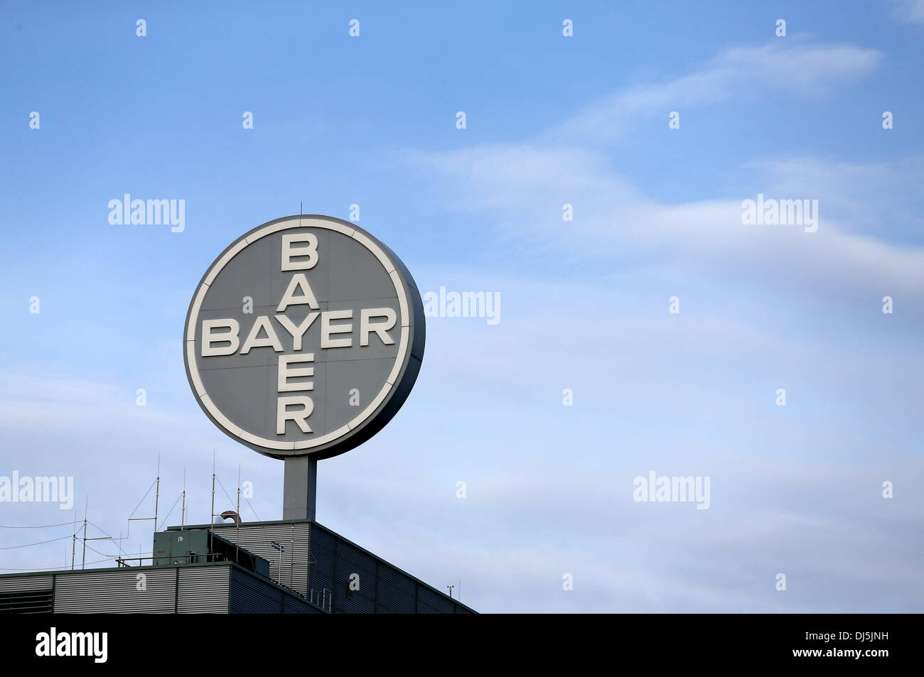 Bitterfeld-Wolfen, Germany. 22nd Oct, 2013. View of the logo of German chemical and pharmaceutical company Bayer Stock Photo