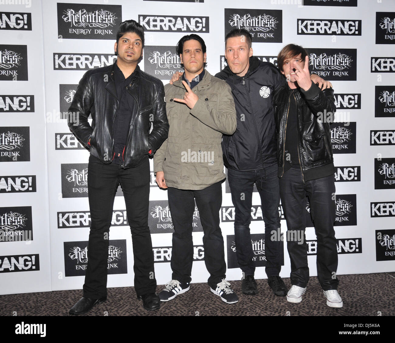 Ian D'Sa, Jonathan Gallant, Aaron Solowoniuk and Benjamin Kowalewicz of Billy Talent Kerrang! Awards held at the Brewery - Arrivals. London, England - 07.06.12 - Stock Image