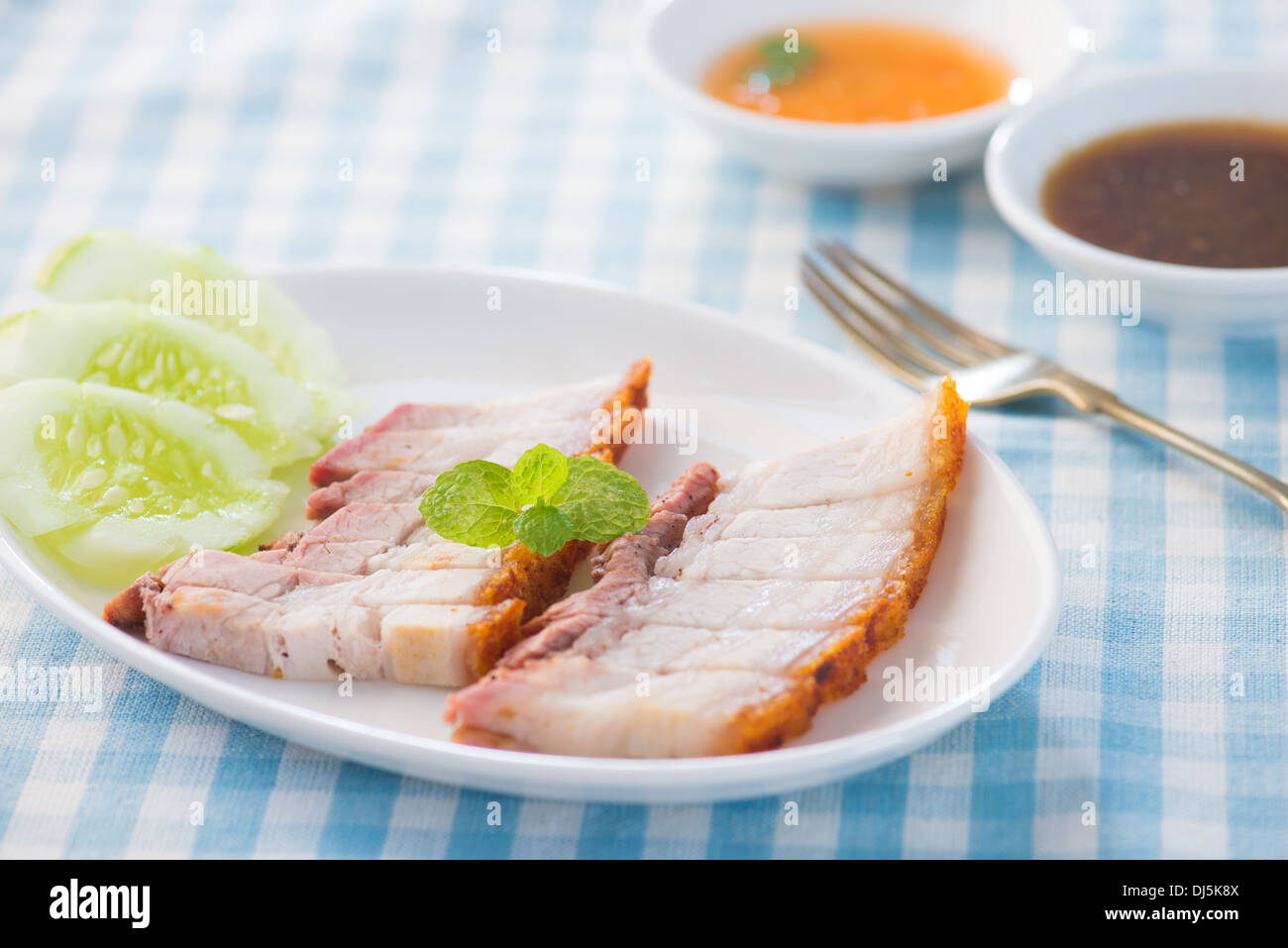 Siu Yuk - Chinese roasted pork served with soy and hoisin