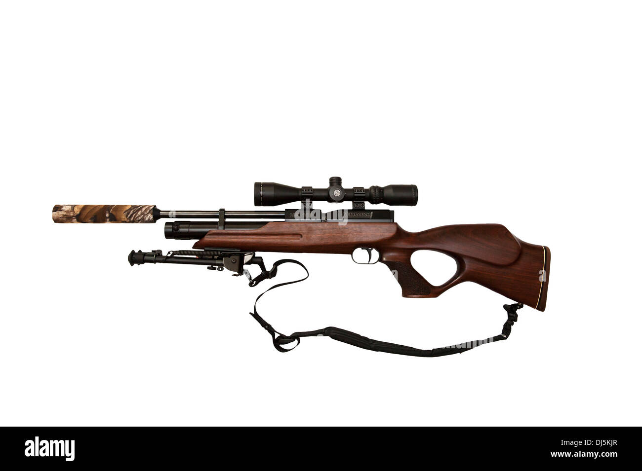 A Weihrauch HW 100 PCP pre-charged pneumatic air rifle with telescopic sight and bipod mounted on it on a white background - Stock Image