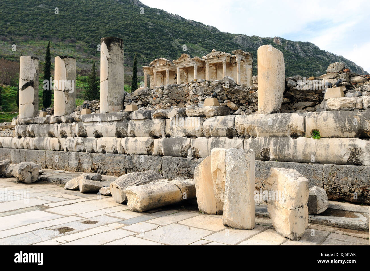 Ephesus Celsus Library with marble road Stock Photo