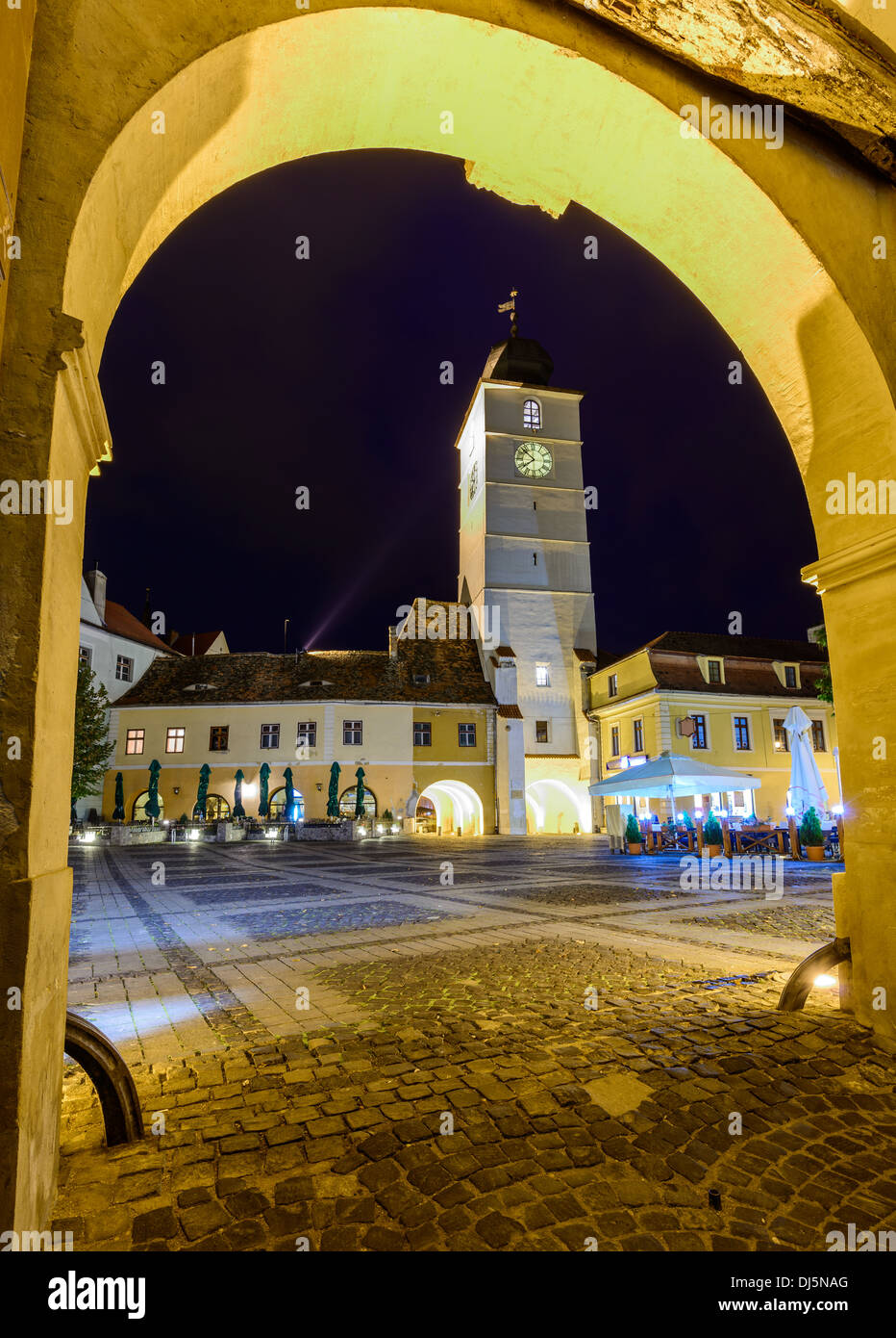 council tower in sibiu (hermannstadt), transylvania, romania, at night - Stock Image
