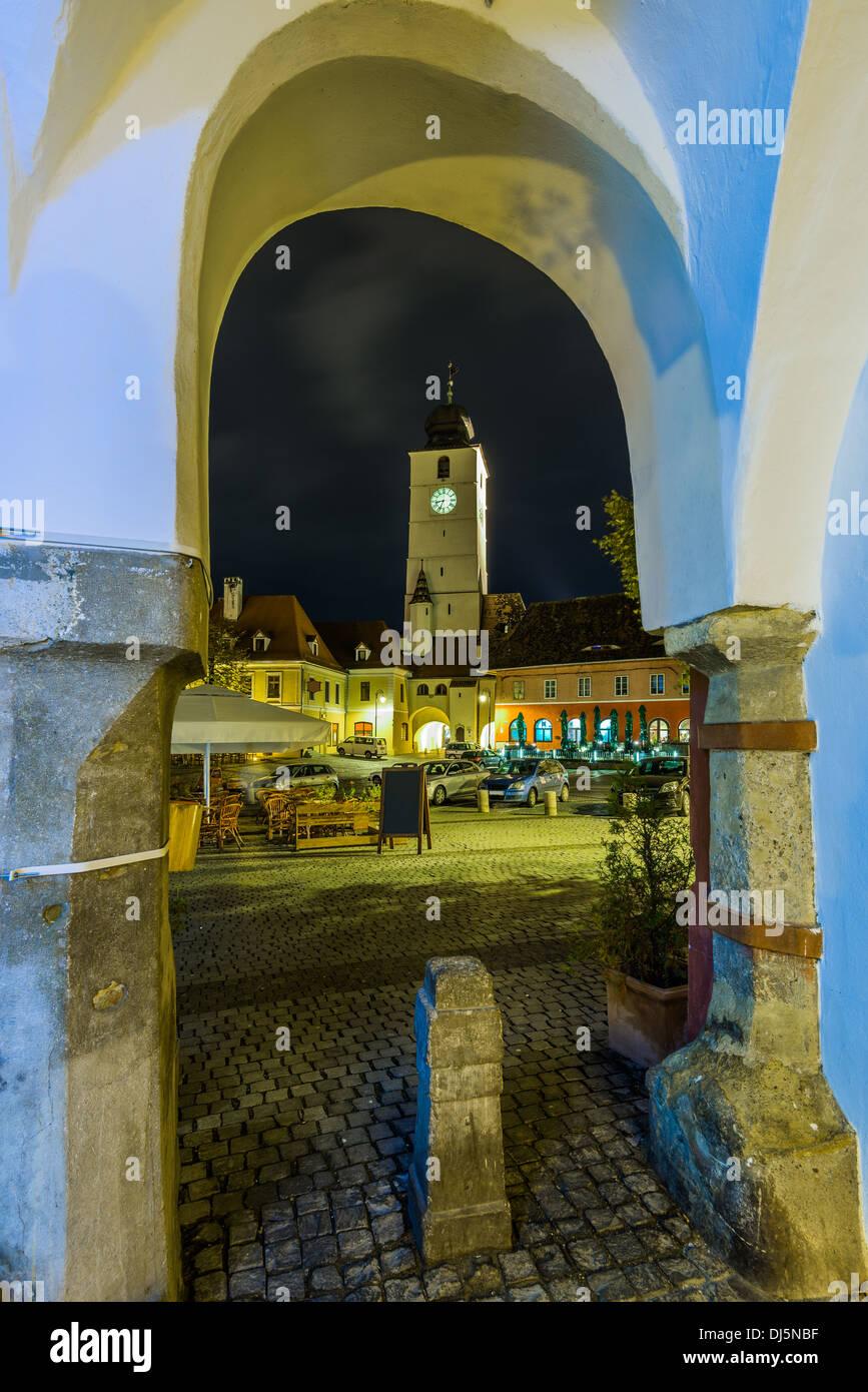 council tower in sibiu, transylvania, romania, at night - Stock Image