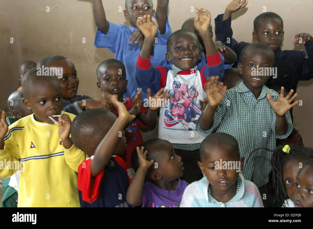 Rackety pre-school children, Ghana - Stock Image