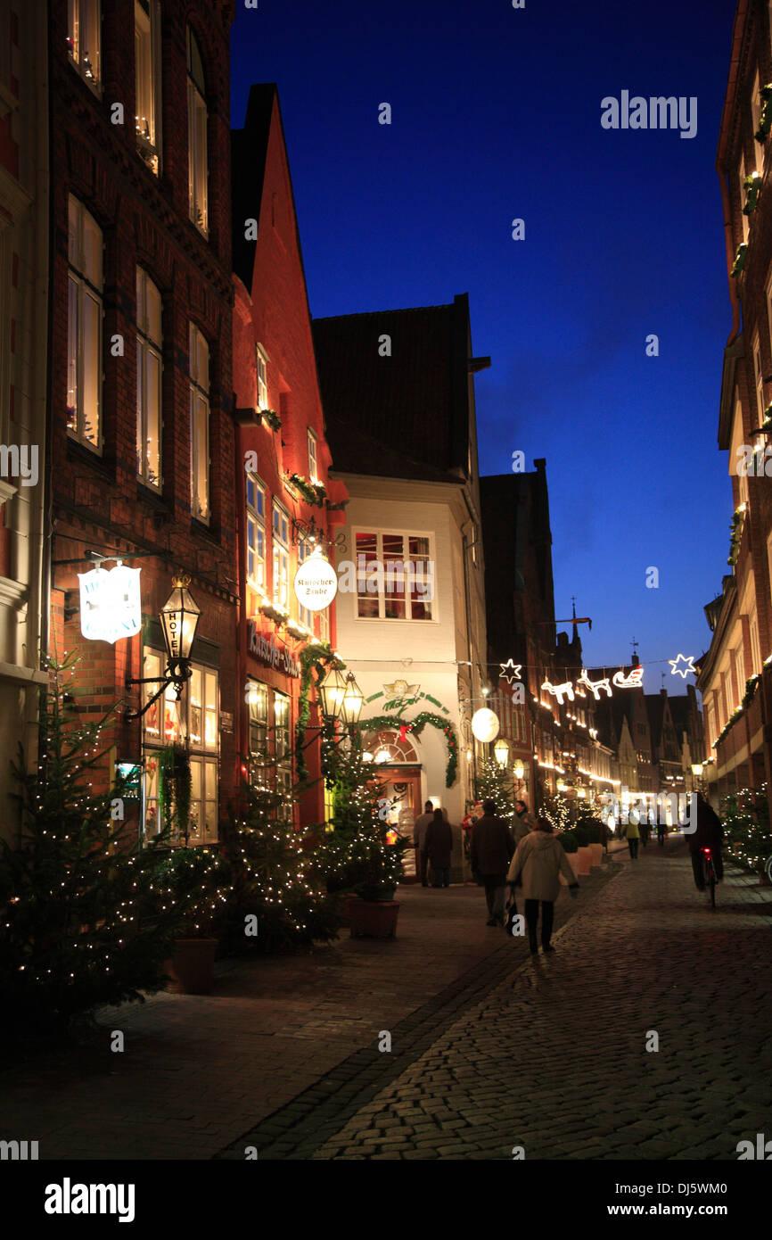 Christmas trees at Heiligengeiststrasse, Lueneburg, Lower Saxony, Germany - Stock Image