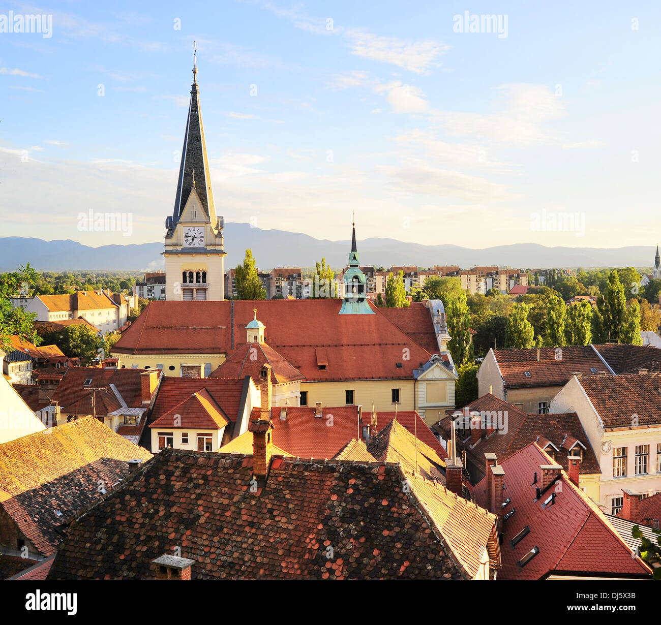 Cityscape of Ljubljana at sunset, Slovenia - Stock Image