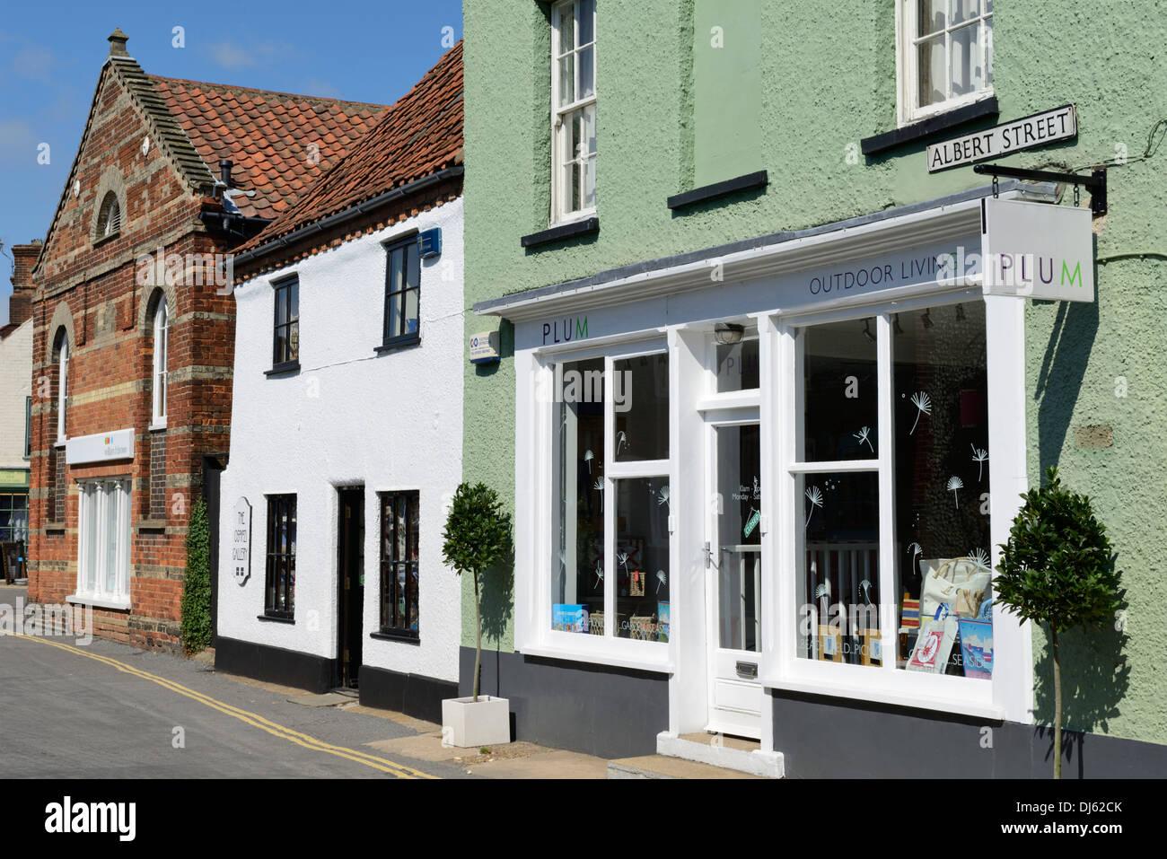 Attractive buildings on Albert Street, Holt, Norfolk, England, United Kingdom, UK, Europe - Stock Image