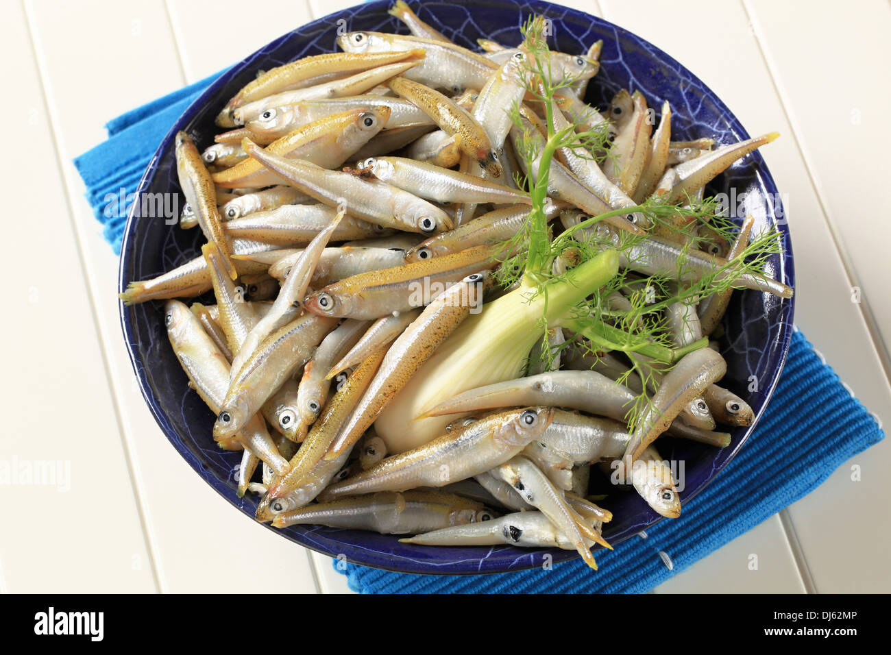 Bowl of fresh sprats with fennel - Stock Image