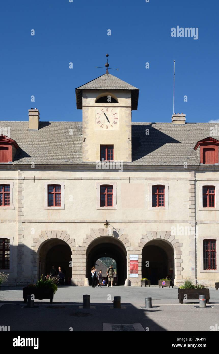 Clock Tower & Public Town Square Mont-Dauphin Hautes-Alpes France - Stock Image